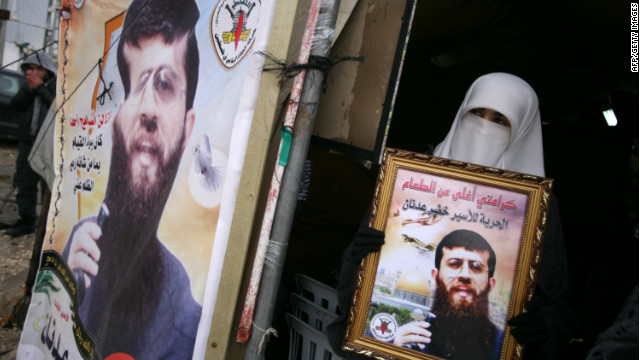 The wife of Palestinian prisoner Khader Adnan, protests his detention near the West Bank city of Jenin, on February 18, 2012.