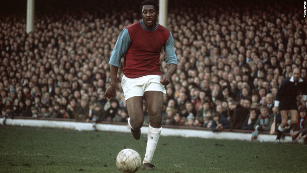 Bermuda-born Clyde Best, pictured here in 1972, became the first black player to establish himself in the English top flight with London club West Ham United.
