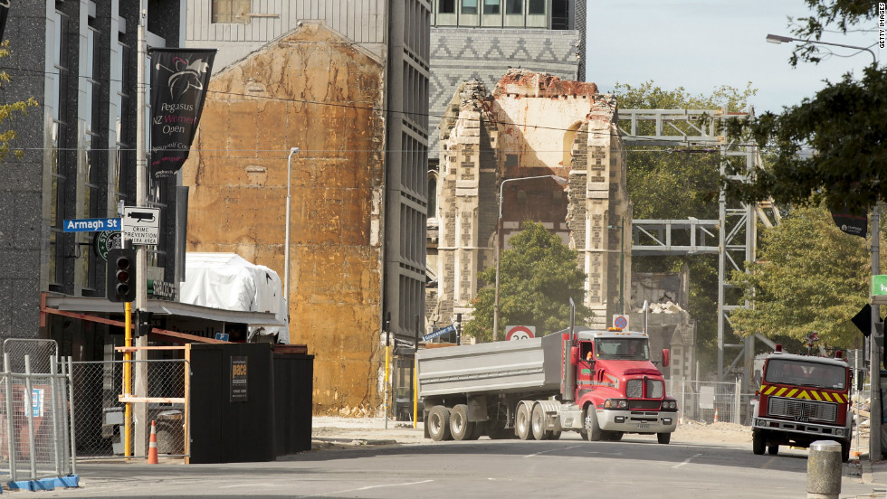 A dump truck inside the cordoned off red zone in the central business district on February 21, 2012. Christchurch remains carved into zones labeled by color to indicate the severity of the earthquake damage to homes and land.