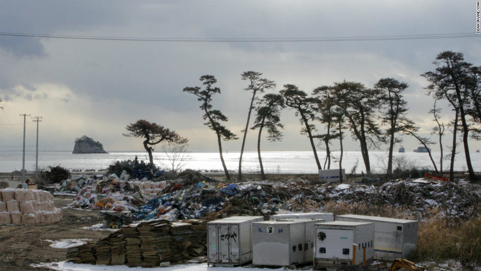 Clearing and rebuilding efforts continue on Katsurashima Island off the coast of Miyagi prefecture.
