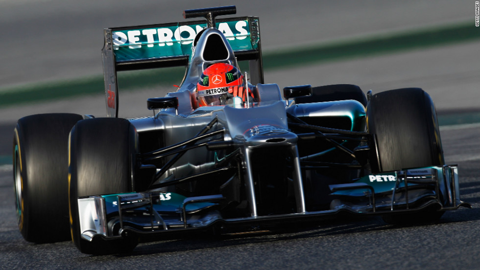 Seven-time world champion Michael Schumacher gets behind the wheel of the new  F1 W03 at an official preseason test event in Barcelona.