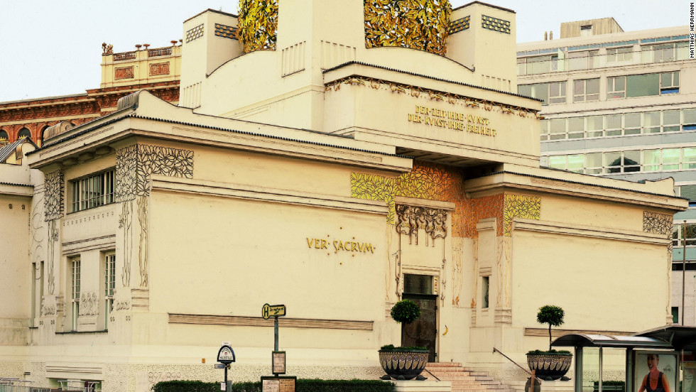 """Klimt was one of a number of prominent avant-garde artists in Vienna collectively known as the """"Secessionists."""" <br /><br />Pictured is the art nouveau Secession Museum, which boasts Klimts's Beethoven mural and temporary exhibitions of contemporary art."""