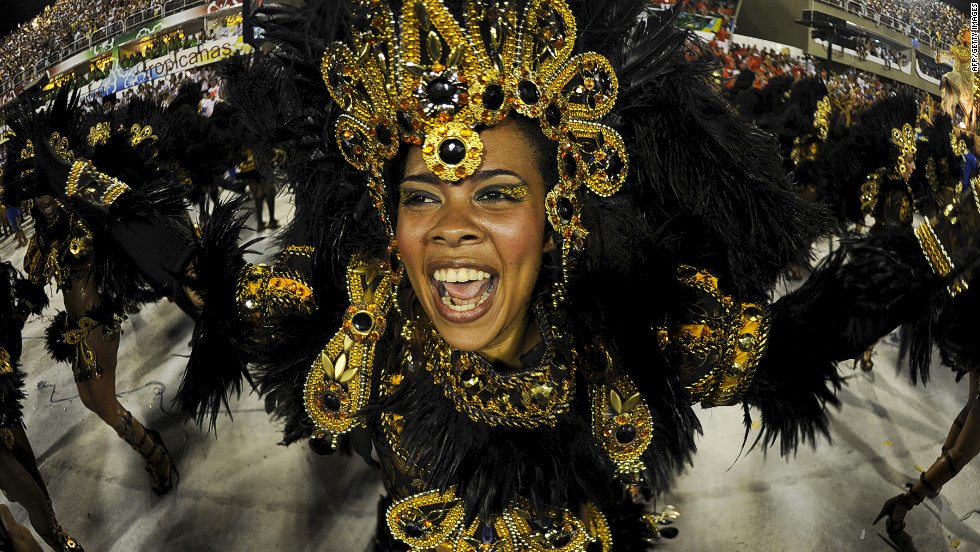 A Unidos da Tijuca samba school reveler performs at the Sambadrome in Rio de Janeiro on Tuesday.