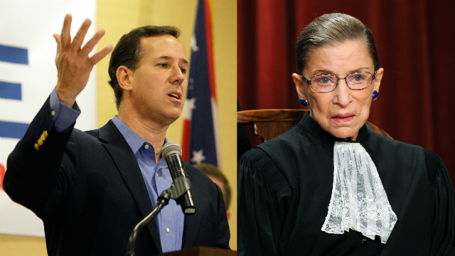 split of Rick Santorum and Ruth Ginsburg