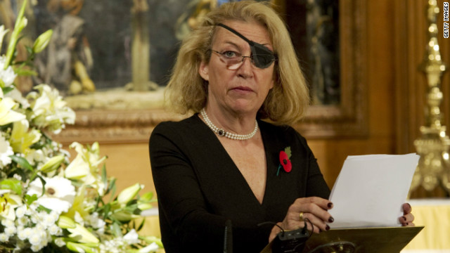 Marie Colvin of The Sunday Times, gives the address during a service at St. Bride's Church November 10, 2010 in London, England. The service commemorated journalists, cameramen and support staff who have fallen in the war zones and conflicts of the past decade.