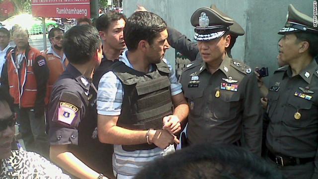 Suspect taken to Bangkok blast site