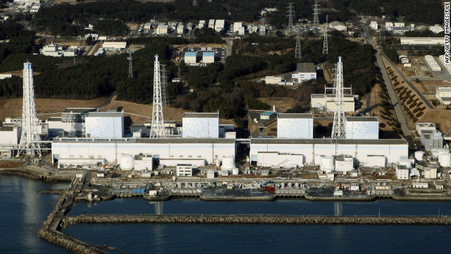An aerial view of the quake-damaged Fukushima nuclear power plant in the town of Futaba, Fukushima prefecture last March.