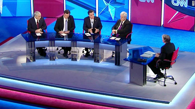 The four Republican candidates took part  Wednesday in a CNN debate moderated by John King.
