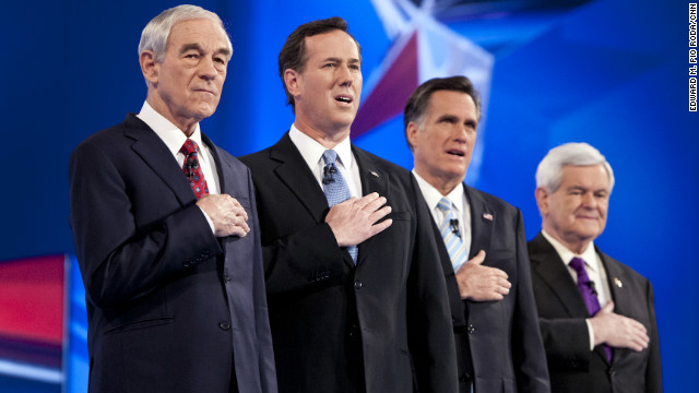 GOP candidates Ron Paul, from left, Rick Santorum, Mitt Romney and Newt Gingrich face off in two primaries on Tuesday.