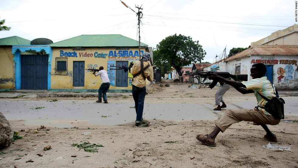 Hard-line Islamist fighters exchange gun fire with Somalian military forces in Mogadishu in the summer of 2009. Somalia has been without any functioning government since 1991 -- perfect territory for different militia and factions to fight over the bones of the old state.