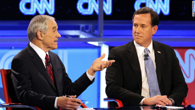 U.S. Rep. Ron Paul and former Sen. Rick Santorum participate in a debate co-sponsored by CNN.