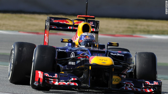 Red Bull's two-time world champion took the team's new RB8 for a test drive in Barcelona on Thursday.