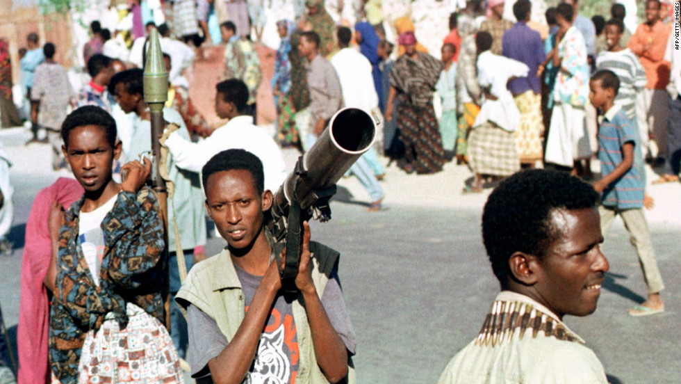 The one thing more persistent than famine, however, has been the ever-present conflict between warlords and sectarian militia groups. In this photo from 1997, Somali gunmen hold rocket launchers on the streets of Mogadishu after local warload Ali Mahdi Mohamed accused his rival Hussein Aidid of setting up roadblocks in the streets of the capital.