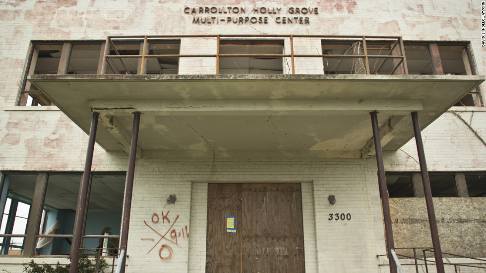 Some residents blame the high crime rates on a lack of activities to keep youths off the streets. Places like this multipurpose center in Mid-City never reopened after the floods of Katrina.