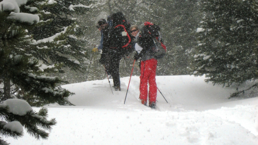 Skiers make their way on a snowy morning in the backcountry, looking for fresh powder.