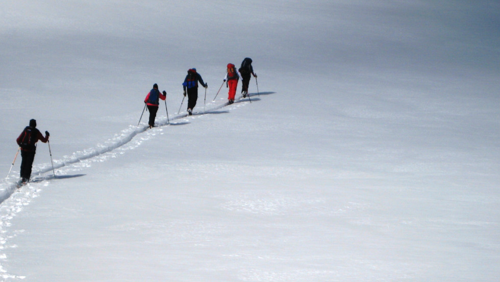 Skiers seek refuge from crowded ski resorts in the relative quiet of backcountry skiing. Here, skiers climb above the treeline on the east ridge of Galena Mountain near Leadville, Colorado.