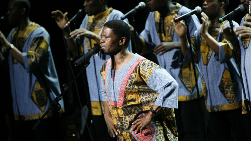 "Ladysmith Black Mambazo perform Paul Simon's ""Under African Skies"" in 2008 in New York City."