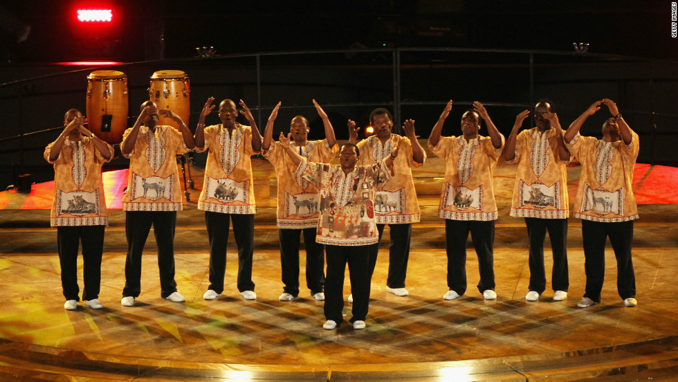 Ladysmith Black Mambazo perform during the closing ceremony of the 2010 football world cup in South Africa.