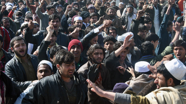 Afghan demonstrators shout anti U.S.-slogans Saturday in Kunduz.