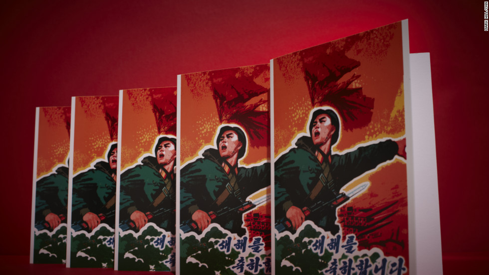 "It may look like a nation at war, but in fact it's a North Korean greeting card. The caption says ""Happy New Year."""