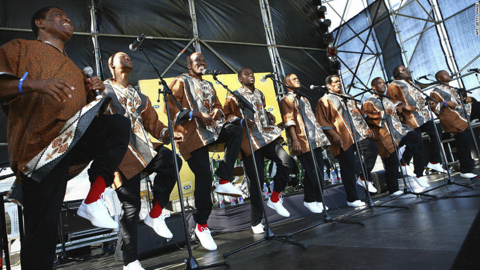 Ladysmith Black Mambazo perform at the MTN Onkweni Royal festival in Ulundi, some 300 kilometers north of Durban on December 27, 2008.