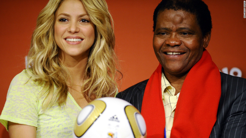 Shabalala with Colombian singer Shakira on the eve of the 2010 football world cup final in South Africa.