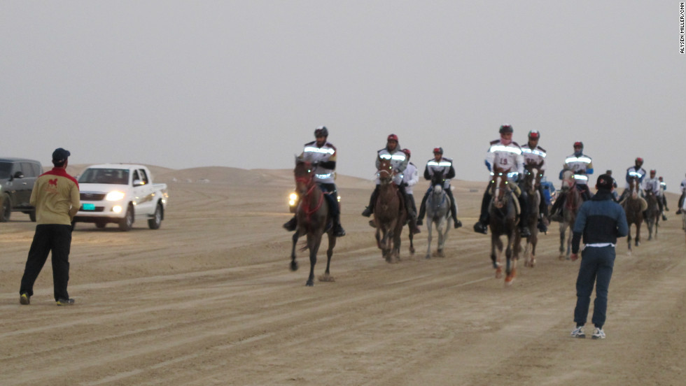 Riders set off in the early morning to embark on a grueling 120-kilometer endurance marathon through the deserts of the United Arab Emirates.