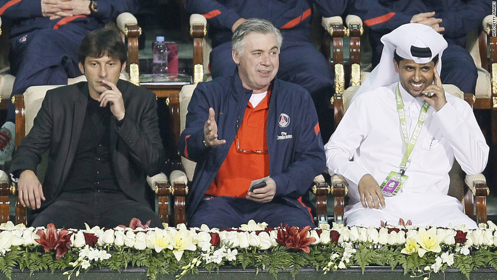 Paris Saint-Germain's main players: From left to right, general manager Leonardo, coach Carlo Ancelotti and president Nasser Al-Khelaifi.