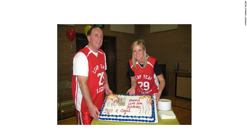 """Camille Kesler was the perfect gift for her father's seventh birthday. The two celebrate every leap year together. Last birthday they had a basketball-themed party with """"Leap Year Legends"""" jerseys. Kesler is 39 weeks pregnant and her due date is near leap day 2012."""