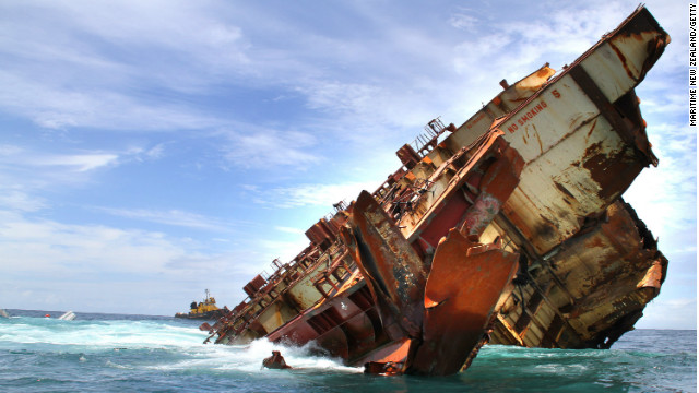 The cargo vessel MV Rena remains stranded on Astrolabe Reef in Tauranga, New Zealand.