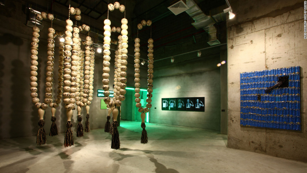 The wooden balls were then strung up, resembling prayer beads, at the Edge of Arabia contemporary art show in Jeddah.