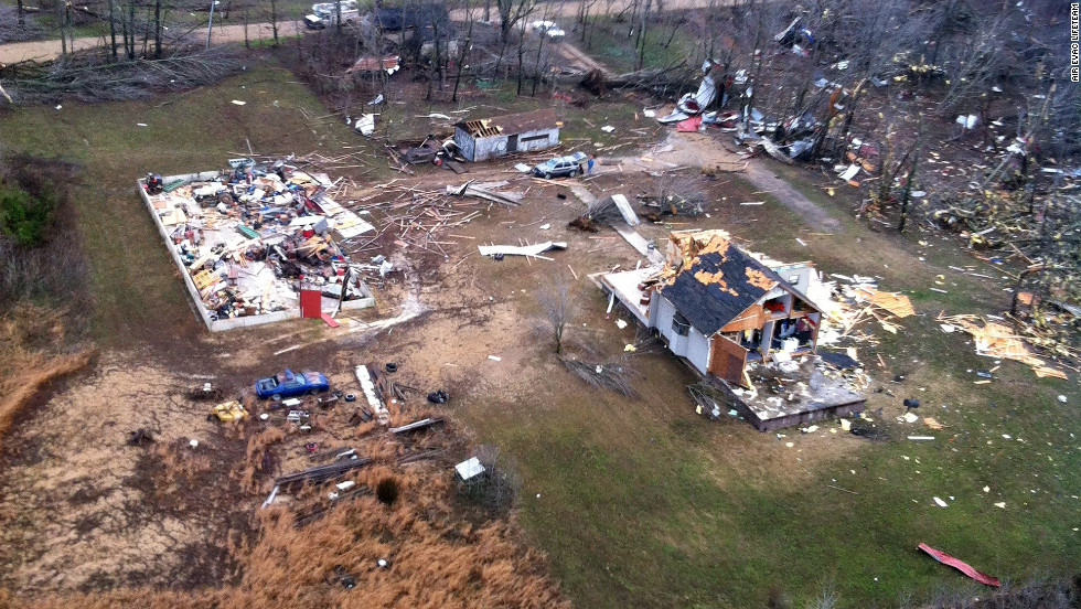 A tornado razed this house and above-ground swimming pool in Stoddard County.