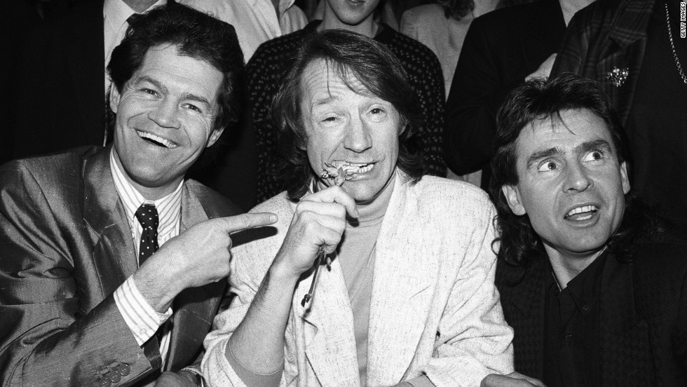 Dolenz, from left, Tork and Jones promote their tour in London in 1989.