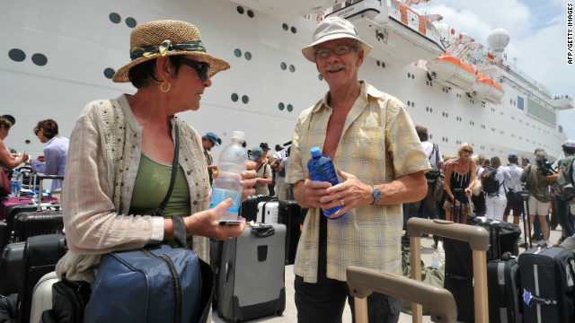 Costa Allegra passengers on dry land
