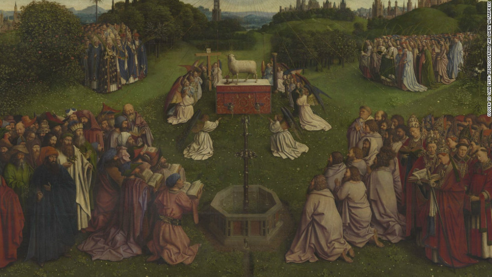 Stolen several times from St. Bavo Cathedral in Ghent where it is housed, the altarpiece features many intriguing details, including a 'Mystic Lamb' bleeding into a chalice.