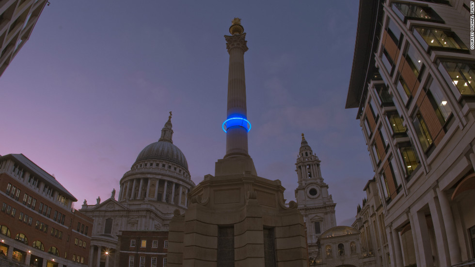 Pinsky's artwork imagines a future when the effects of runaway climate change have transformed London. A string of low-energy blue LED lights wrapped around monuments marks a time, 1,000 years in the future, when sea level rises have changed the city beyond recognition.