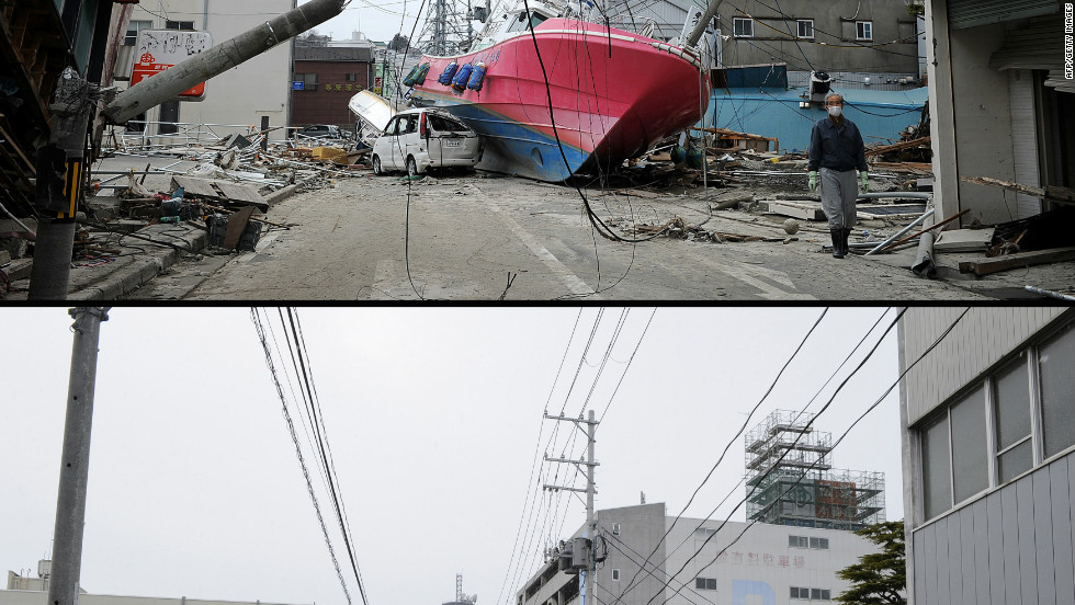 A boat washed on to a street by the March 11 tsunami in Ishonomaki, Miyagi prefecture on March 15, 2011 (top) and the same area on January 13, 2012.