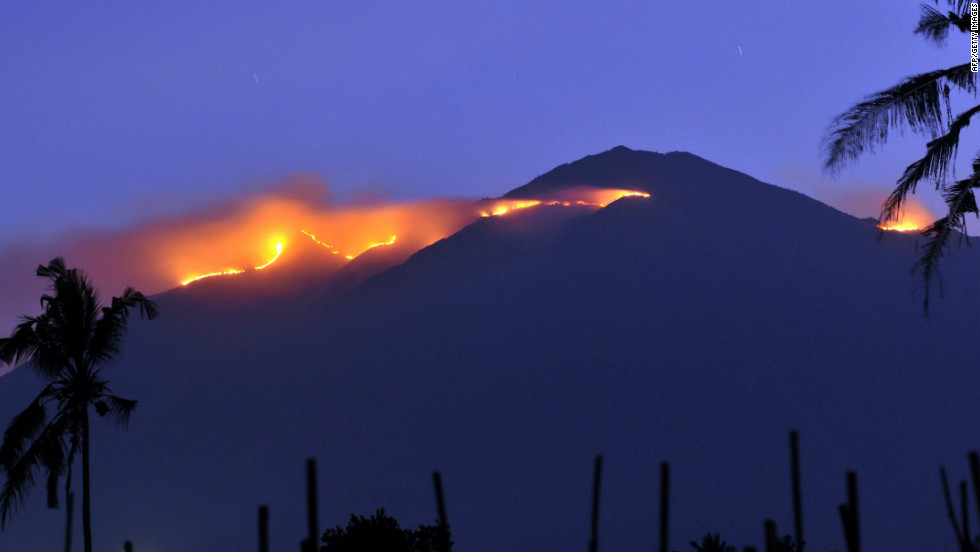 A forest fire engulfs the summit of Mount Merbabu on Indonesia's Java island in September 2011.