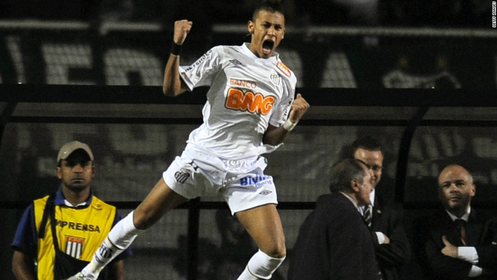 Neymar played a crucial role in Santos' Copa Libertadores triumph in 2011. After a goalless first leg against Uruguayan side Penarol, Neymar scored and was named man of the match in Santos' 2-1 second-leg win. It was the first time Santos had been crowned South American champions since the legendary Pele was playing for the team during the 1960s.