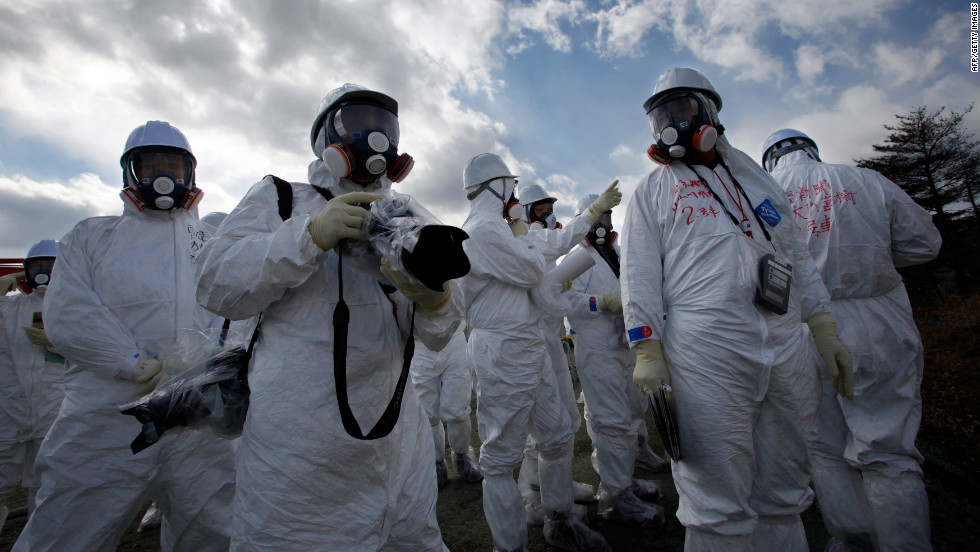 Members of the media suited up before they were allowed into the crippled Fukushima reactor site. It's the second time since the disaster that journalists have been allowed inside.