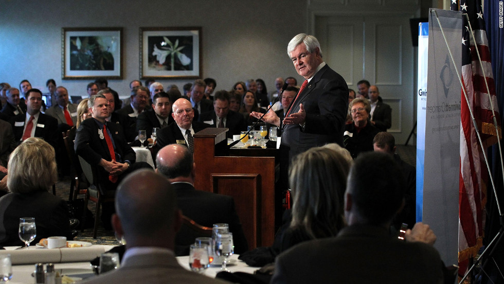 Newt Gingrich addresses the Gwinnett Chamber of Commerce during a campaign stop Tuesday in Duluth, Georgia.