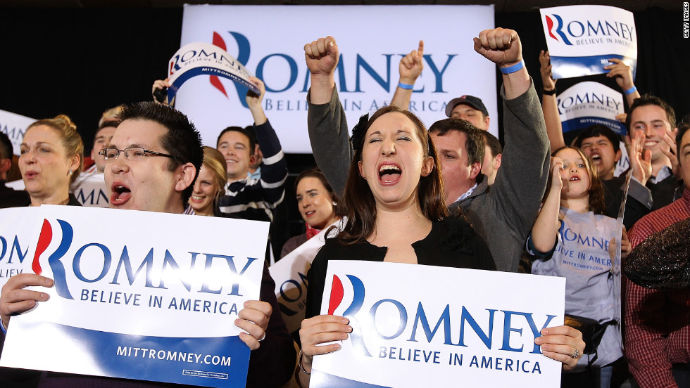 Supporters of Mitt Romney celebrate during a Super Tuesday night gathering in Boston.
