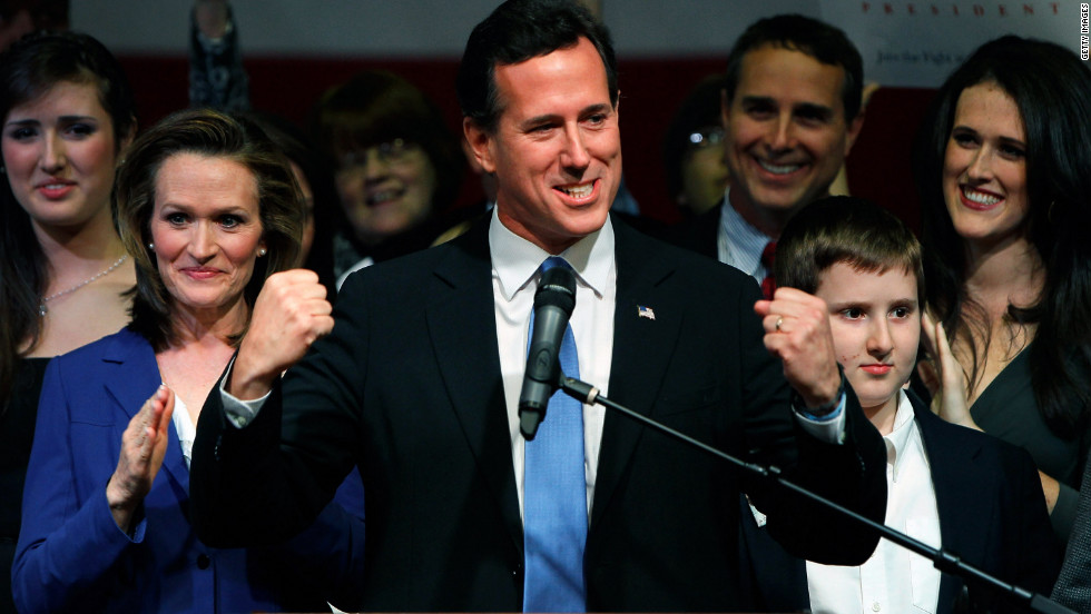 Rick Santorum speaks during a Super Tuesday rally at the Steubenville High School gym in Steubenville, Ohio.