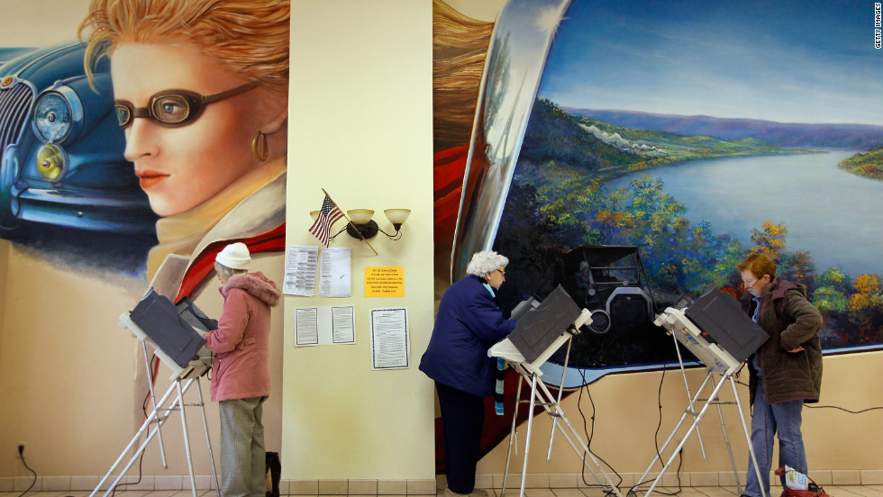 Voters fill out their ballots Tuesday at a polling station set up in Froehlich's Classic Corner restaurant in Steubenville, Ohio.