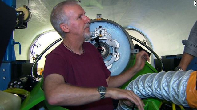 Filmmaker James Cameron is seen inside his single-pilot submersible, the Deepsea Challenger.