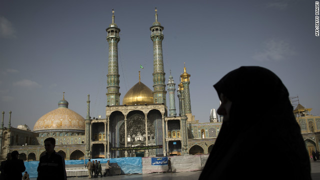 Iranians at a holy shrine in Qom, south of Tehran.