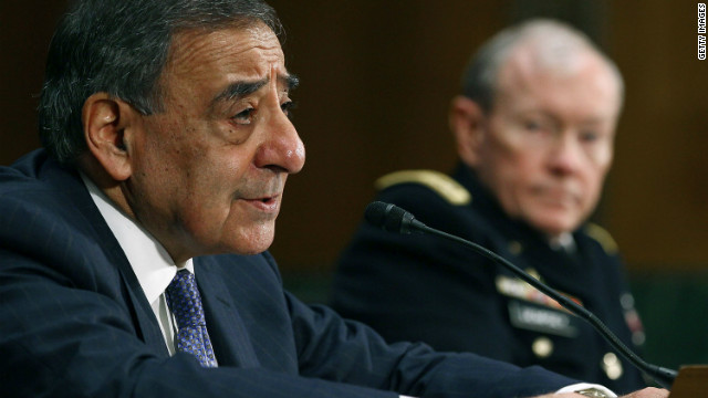 Defense Secretary Leon Panetta speaks yesterday at the Senate Armed Services Committee hearing in Washington, DC.