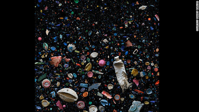 "Mandy Barker's thoughtful still-life photos, dubbed ""SOUP"" depict  waste debris suspended in water, inspired by the Pacific ocean ""Garbage Patch"""