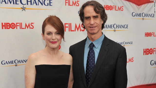 "Julianne Moore, who plays Sarah Palin in ""Game Change,"" and director Jay Roach attend a screening of the movie Wednesday."
