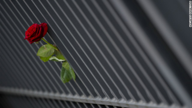 A red rose is left in front of the Japanese embassy on March 13, 2011, in Berlin for victims of the earthquake and tsunami.